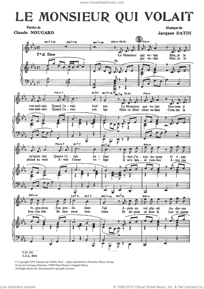 Monsieur Qui Volait sheet music for voice and piano by Claude Nougaro and Jacques Datin, intermediate skill level