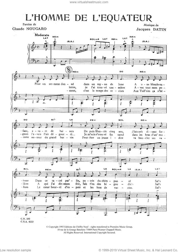 Homme De L'equateur sheet music for voice and piano by Claude Nougaro and Jacques Datin, intermediate skill level