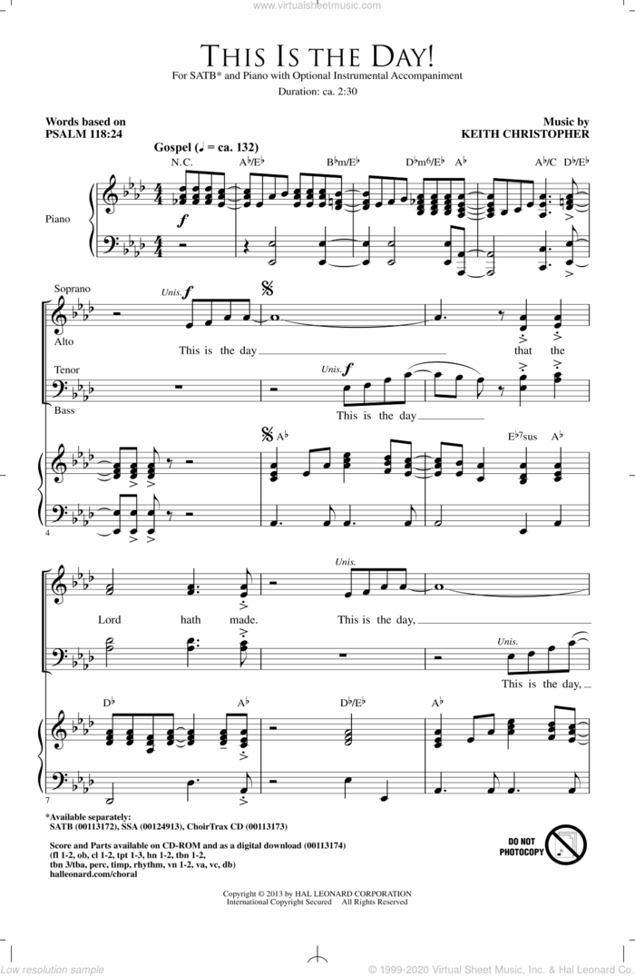 This Is The Day sheet music for choir (SATB: soprano, alto, tenor, bass) by Keith Christopher, intermediate skill level