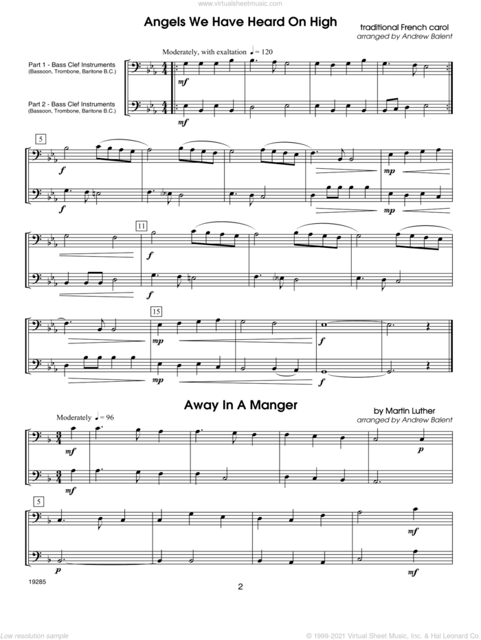 Christmas FlexDuets sheet music for bass, cello or other bass clef instruments by Balent, classical score, intermediate duet