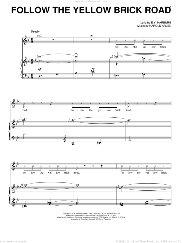 Follow The Yellow Brick Road sheet music for voice, piano or guitar by Harold Arlen and E.Y. Harburg, intermediate skill level