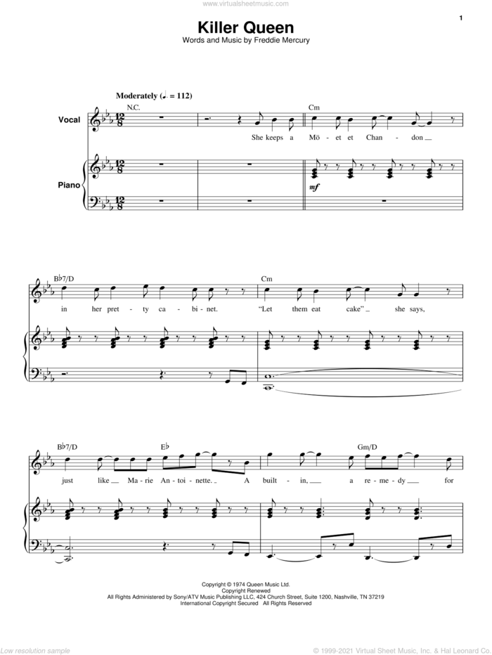 Killer Queen sheet music for keyboard or piano by Queen and Freddie Mercury, intermediate skill level