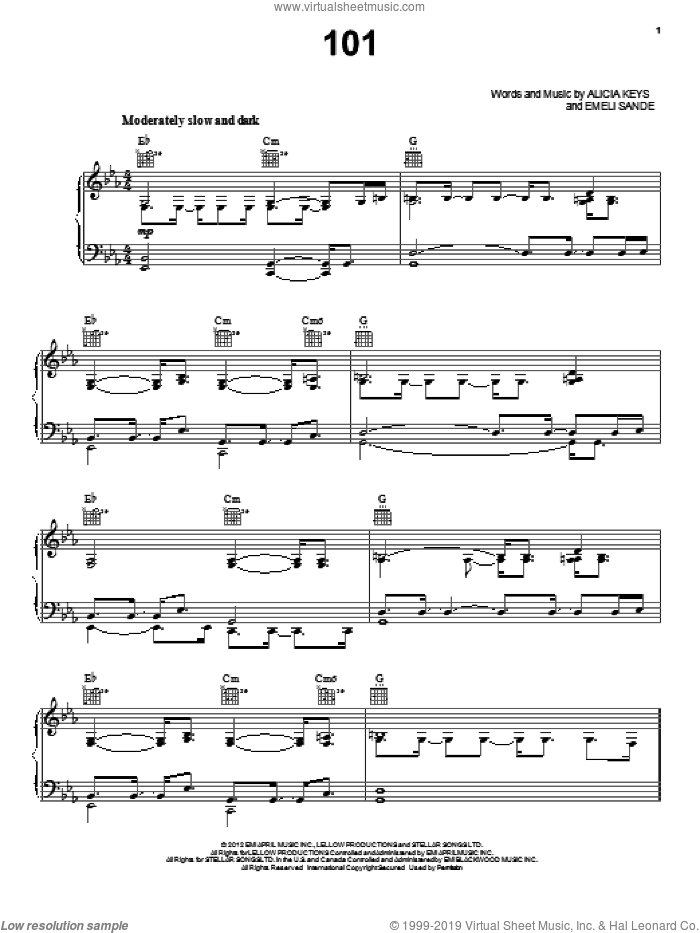 101 sheet music for voice, piano or guitar by Alicia Keys, intermediate skill level