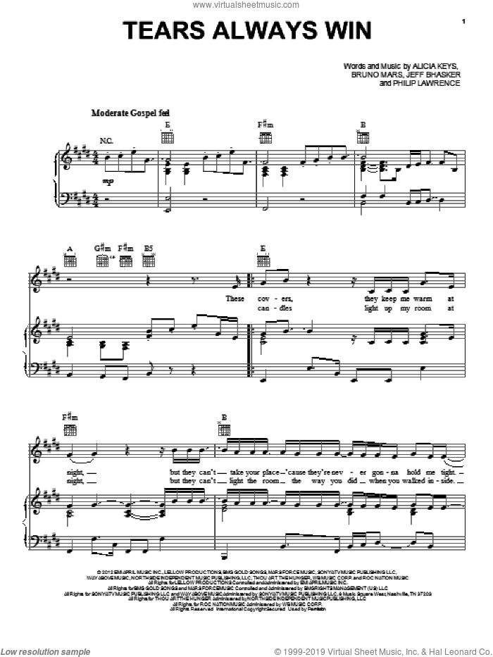 Tears Always Win sheet music for voice, piano or guitar by Alicia Keys, intermediate skill level