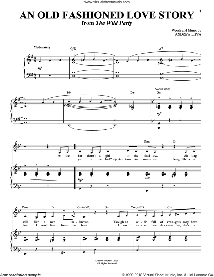 An Old Fashioned Love Story sheet music for voice and piano by Andrew Lippa, intermediate skill level