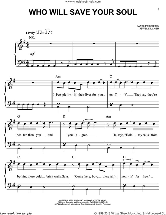 Who Will Save Your Soul sheet music for piano solo by Jewel, easy skill level