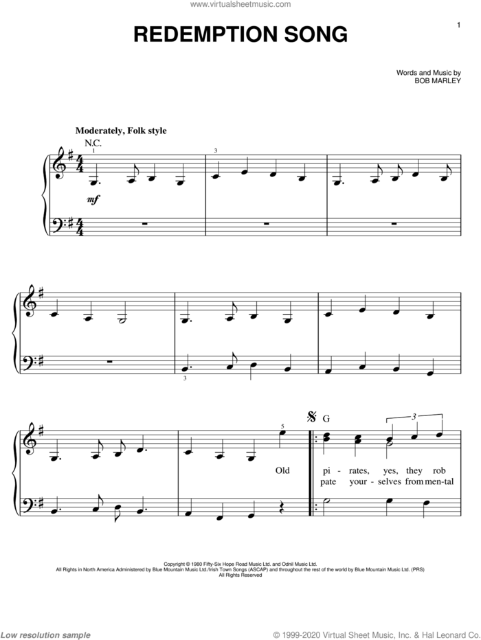 Redemption Song sheet music for piano solo by Bob Marley, easy skill level