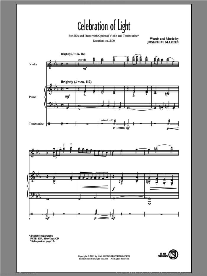 Celebration Of Light sheet music for choir (SSA: soprano, alto) by Joseph M. Martin and Joseph  M. Martin, intermediate skill level