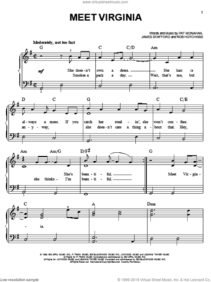 Meet Virginia sheet music for piano solo by Train, easy skill level