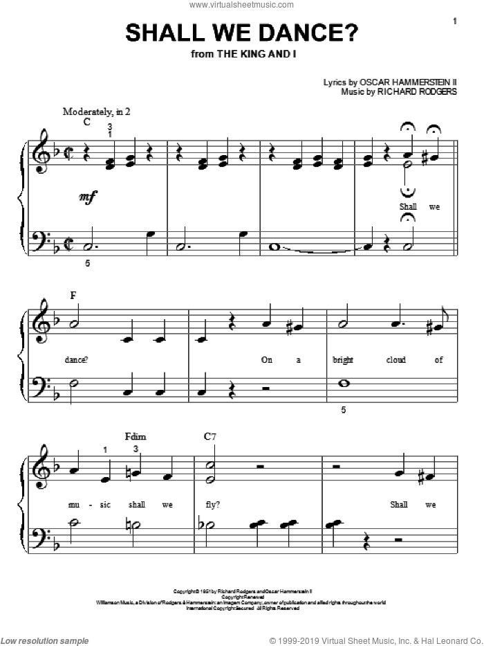 Shall We Dance? sheet music for piano solo (big note book) by Rodgers & Hammerstein, Oscar Hammerstein and Richard Rodgers, easy piano (big note book)
