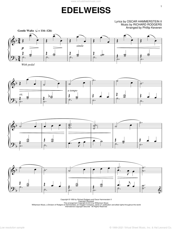 Edelweiss (from The Sound Of Music) (arr. Phillip Keveren) sheet music for piano solo by Phillip Keveren and Rodgers & Hammerstein, intermediate skill level