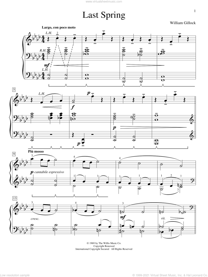 Last Spring sheet music for piano solo (elementary) by William Gillock, classical score, beginner piano (elementary)