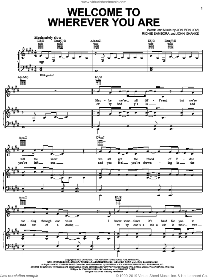 Welcome To Wherever You Are sheet music for voice, piano or guitar by Bon Jovi, John Shanks and Richie Sambora, intermediate skill level