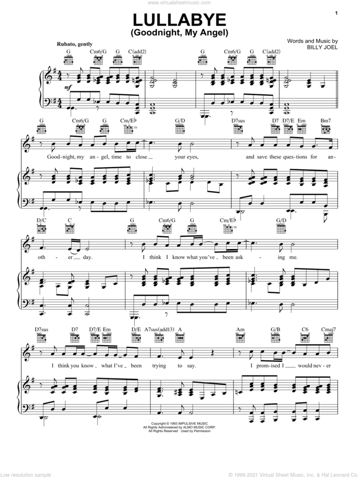 Lullabye (Goodnight, My Angel) sheet music for voice, piano or guitar by Billy Joel, intermediate skill level