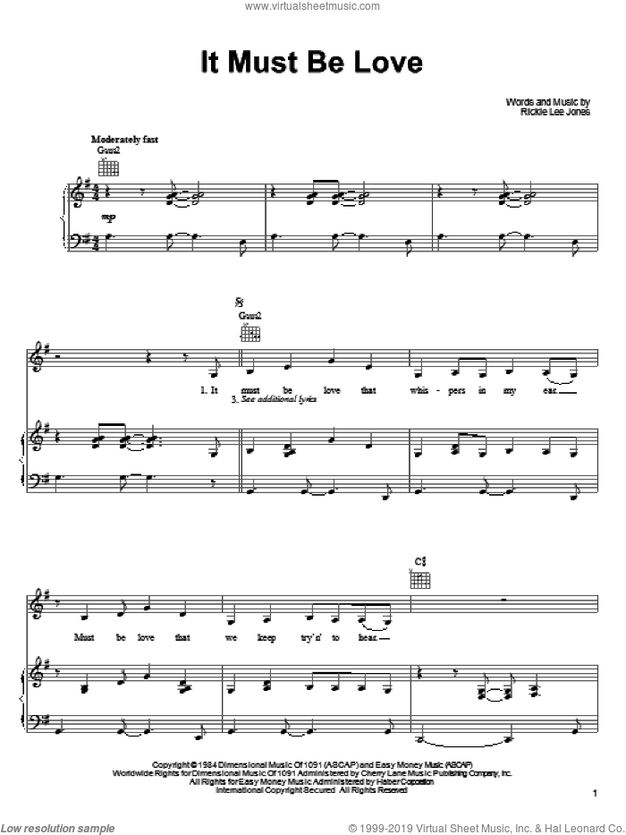 It Must Be Love sheet music for voice, piano or guitar by Rickie Lee Jones, intermediate skill level