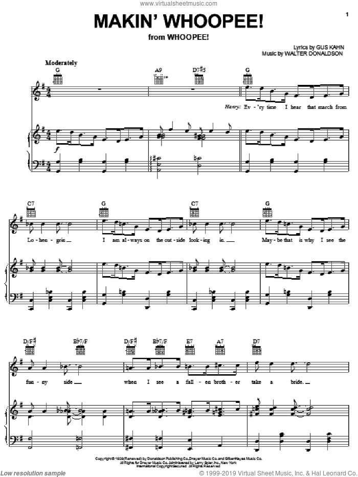 Makin' Whoopee! sheet music for voice, piano or guitar by Frank Sinatra, Eddie Cantor, Gus Kahn and Walter Donaldson, intermediate skill level