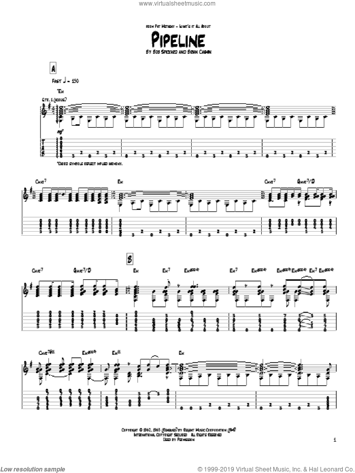 Pipeline sheet music for guitar (tablature) by Pat Metheny and The Chantays, intermediate skill level