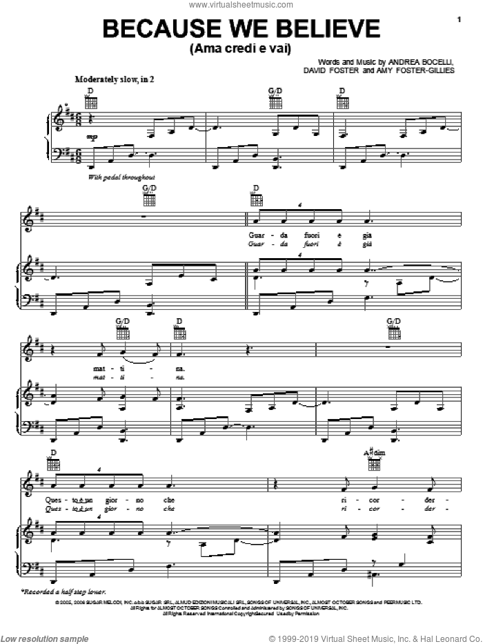 Because We Believe sheet music for voice, piano or guitar by Andrea Bocelli, Amy Foster-Gillies and David Foster, intermediate skill level