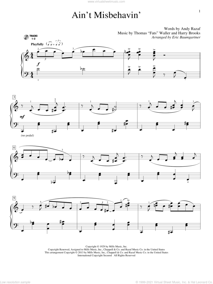Ain't Misbehavin' sheet music for piano solo (elementary) by Eric Baumgartner, Thomas Waller and Hank Williams, Jr., beginner piano (elementary)