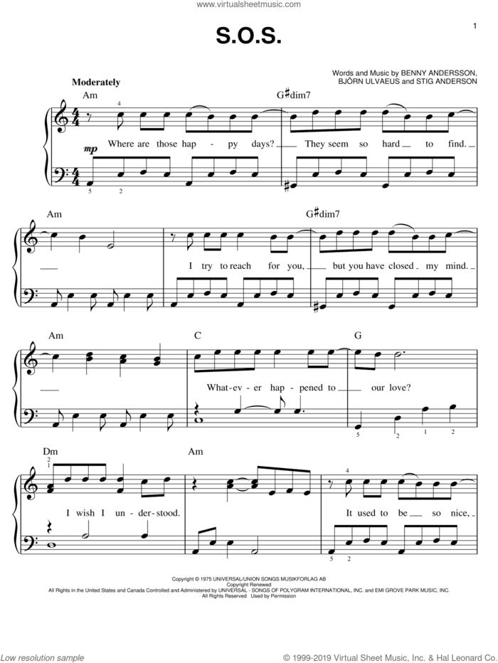 S.O.S. sheet music for piano solo by ABBA, Mamma Mia! (Movie), Mamma Mia! (Musical), Benny Andersson, Bjorn Ulvaeus and Stig Anderson, easy skill level