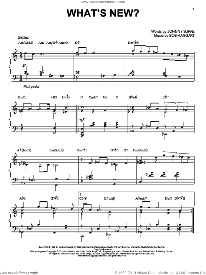 What's New? [Jazz version] (arr. Brent Edstrom) sheet music for piano solo by Bob Crosby & His Orchestra, intermediate skill level