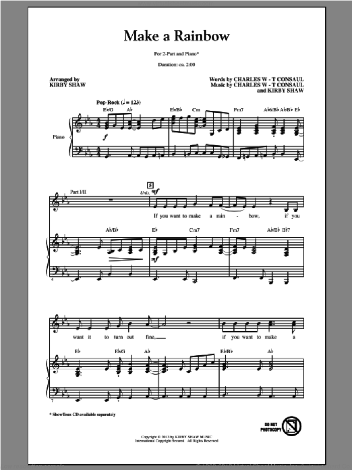 Make A Rainbow sheet music for choir (2-Part) by Kirby Shaw, intermediate duet