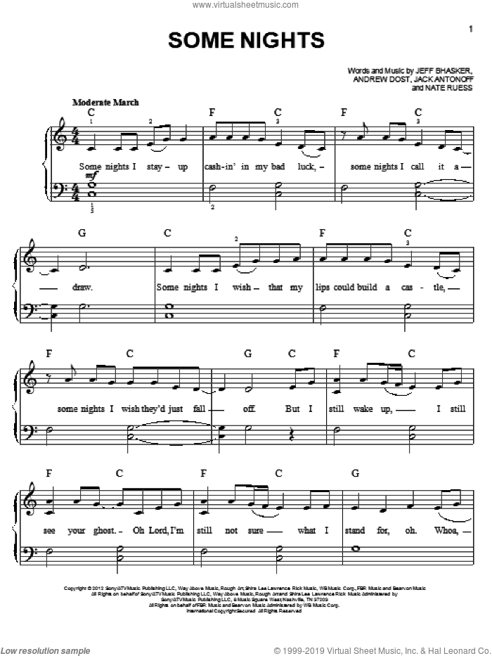 Some Nights sheet music for piano solo by Fun, beginner skill level