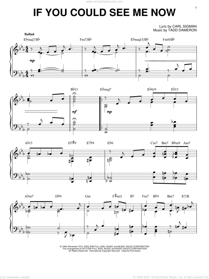 If You Could See Me Now [Jazz version] (arr. Brent Edstrom) sheet music for piano solo by Tadd Dameron and Carl Sigman, intermediate skill level