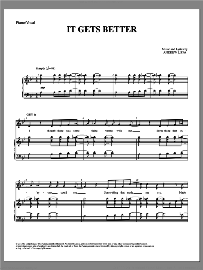 It Gets Better sheet music for voice and piano by Andrew Lippa, intermediate skill level