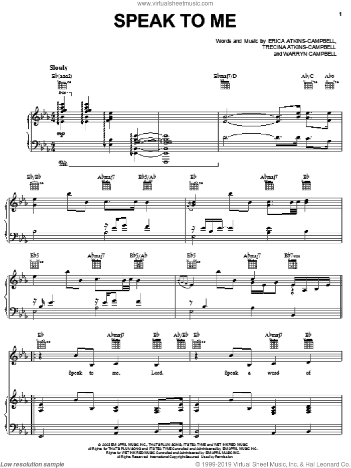 Speak To Me sheet music for voice, piano or guitar by Mary Mary, Erica Atkins-Campbell, Trecina Atkins-Campbell and Warryn Campbell, intermediate skill level