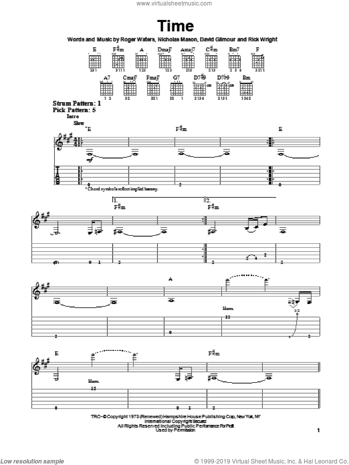 Time sheet music for guitar solo (easy tablature) by Pink Floyd, David Gilmour and Roger Waters, easy guitar (easy tablature)