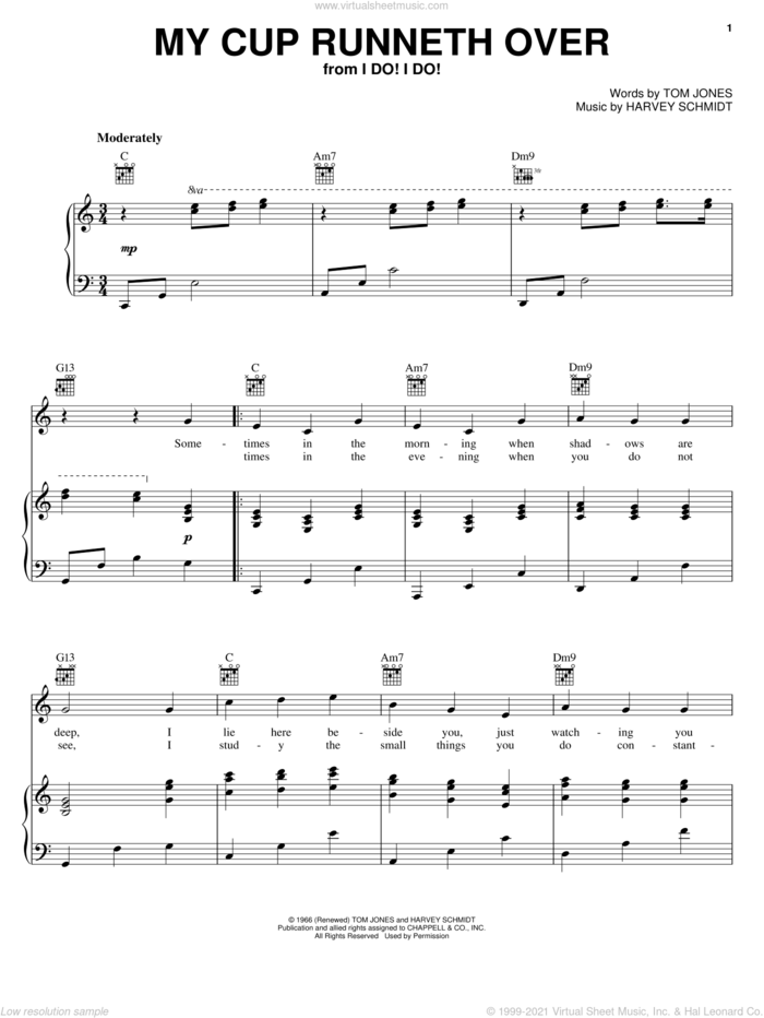My Cup Runneth Over sheet music for voice, piano or guitar by Ed Ames, Harvey Schmidt and Tom Jones, wedding score, intermediate skill level