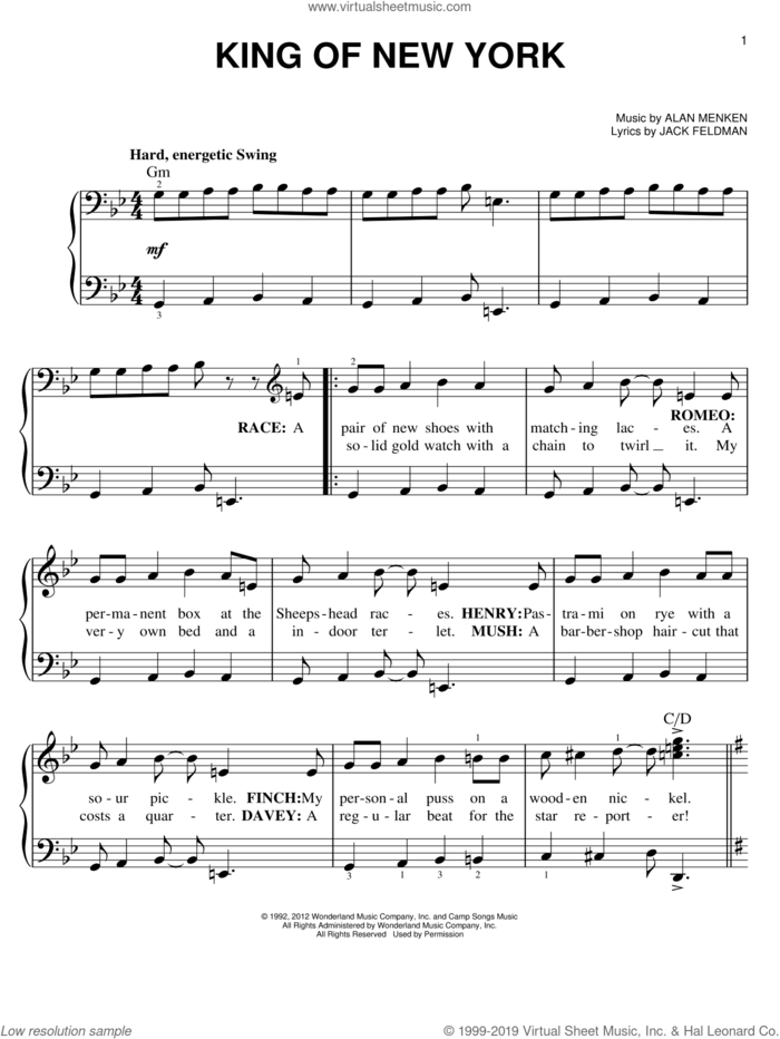 King Of New York sheet music for piano solo by Alan Menken, Jack Feldman and Newsies (Musical), easy skill level