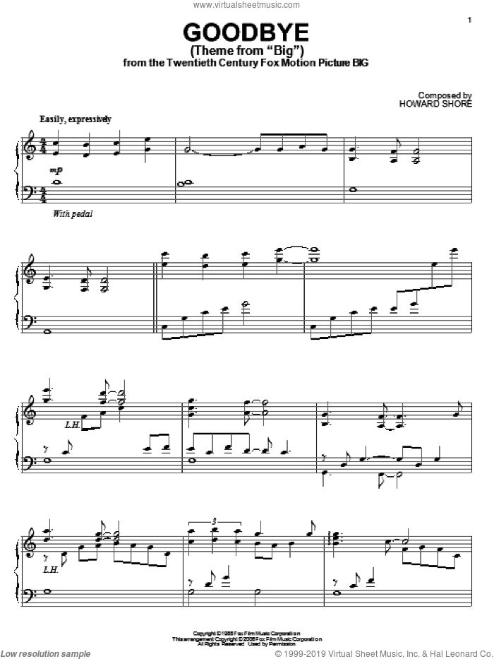 Goodbye (Theme From 'Big') sheet music for piano solo by Howard Shore, intermediate skill level