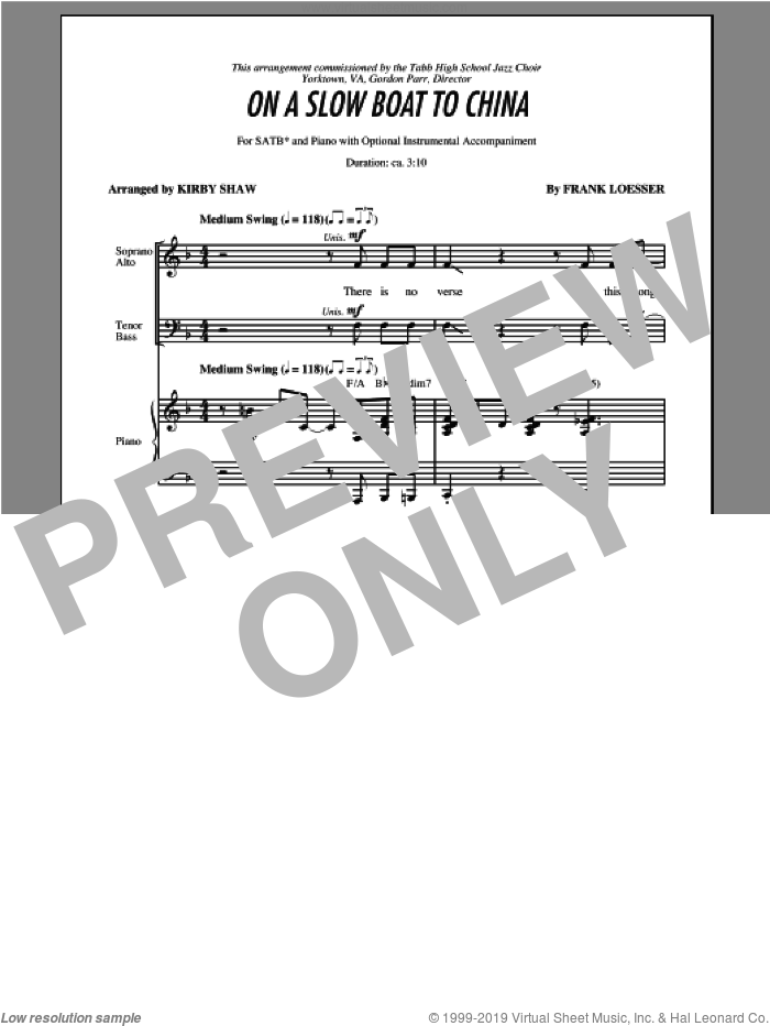 On A Slow Boat To China sheet music for choir (SATB: soprano, alto, tenor, bass) by Kirby Shaw, intermediate skill level