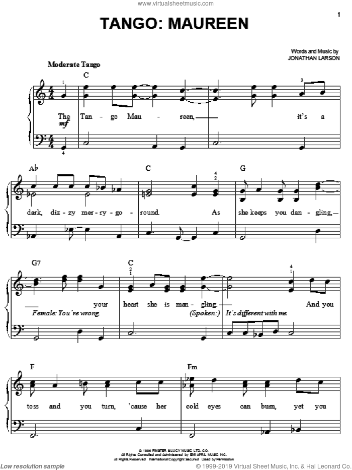 Tango: Maureen sheet music for piano solo by Jonathan Larson and Rent (Movie), easy skill level