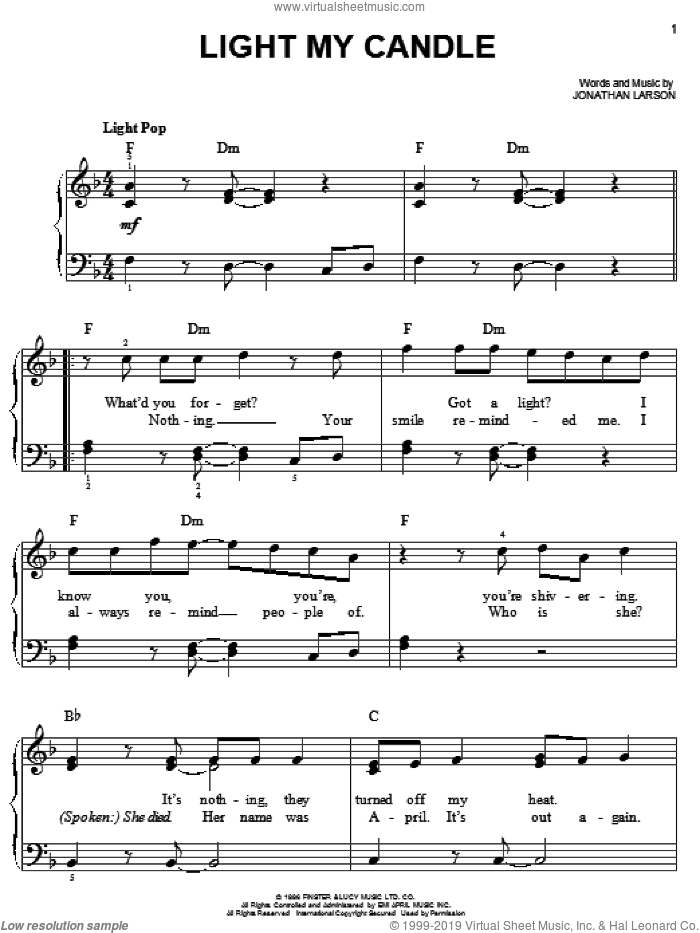 Light My Candle sheet music for piano solo by Jonathan Larson and Rent (Movie), easy skill level