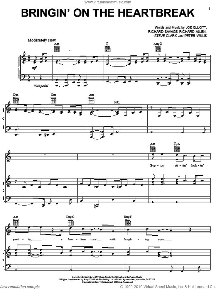 Bringin' On The Heartbreak sheet music for voice, piano or guitar by Def Leppard, Joe Elliott, Peter Willis, Richard Allen, Richard Savage and Steve Clark, intermediate skill level