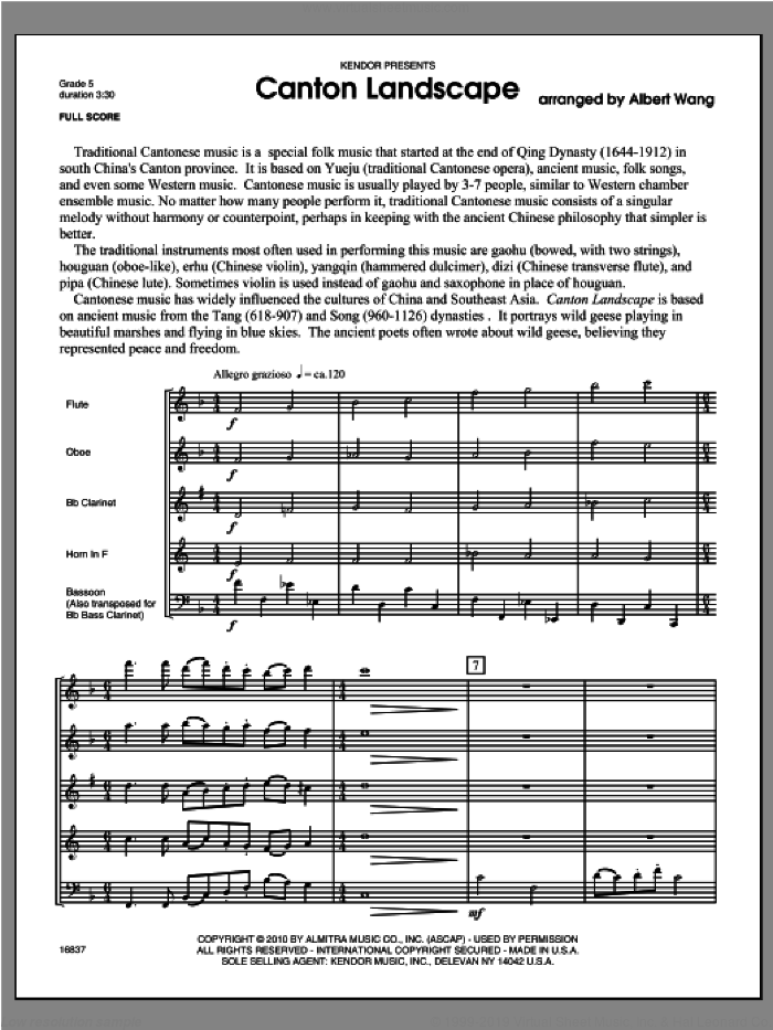 Canton Landscape (COMPLETE) sheet music for wind quintet by Wang, classical score, intermediate skill level