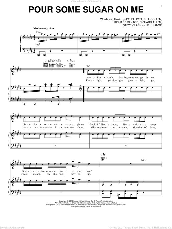 Pour Some Sugar On Me sheet music for voice, piano or guitar by Def Leppard, Joe Elliott, Phil Collen, Richard Allen, Richard Savage, Robert John Lange and Steve Clark, intermediate skill level