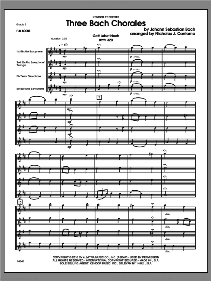Three Bach Chorales (COMPLETE) sheet music for saxophone quartet by Johann Sebastian Bach and Contorno, classical score, intermediate skill level