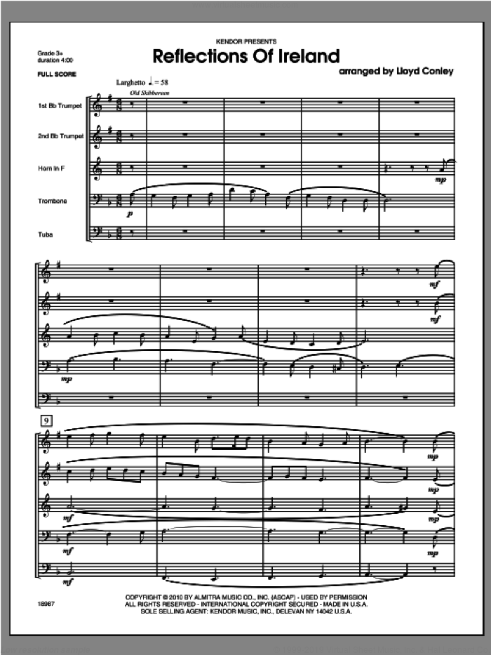 Reflections Of Ireland (COMPLETE) sheet music for brass quintet by Lloyd Conley, classical score, intermediate skill level