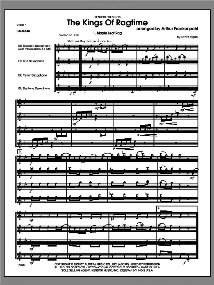 Kings Of Ragtime, The (COMPLETE) sheet music for saxophone quartet by Arthur Frackenpohl, classical score, intermediate skill level
