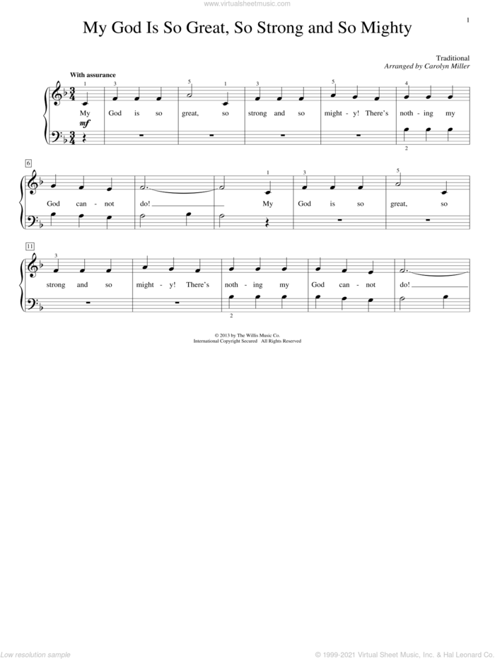 My God Is So Great, So Strong And So Mighty sheet music for piano solo (elementary) by Carolyn Miller and Miscellaneous, beginner piano (elementary)