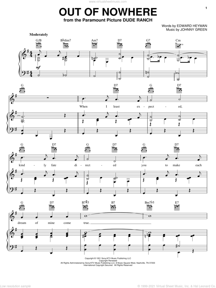Out Of Nowhere sheet music for voice, piano or guitar by Bing Crosby, Buddy DeFranco, Edward Heyman and Johnny Green, wedding score, intermediate skill level
