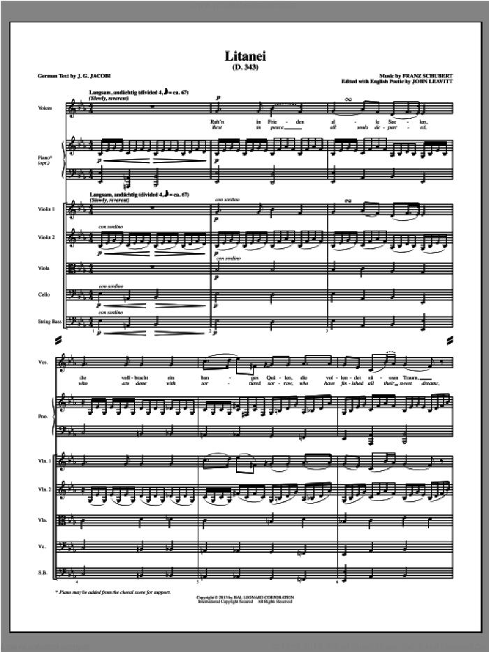 Litanei (COMPLETE) sheet music for orchestra/band (Strings) by John Leavitt and Franz Schubert, intermediate skill level