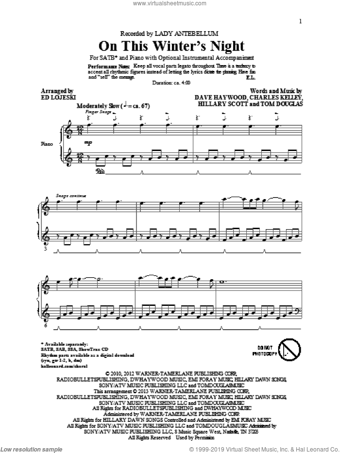 On This Winter's Night (arr. Ed Lojeski) sheet music for choir (SATB: soprano, alto, tenor, bass) by Lady A, Ed Lojeski and Lady Antebellum, intermediate skill level