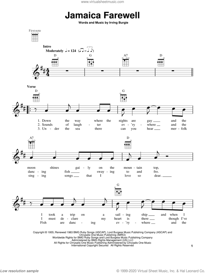 Jamaica Farewell sheet music for ukulele by Harry Belafonte and Irving Burgie, intermediate skill level