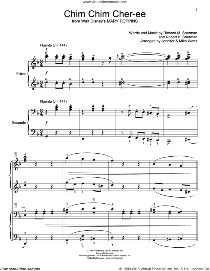 Chim Chim Cher-ee (from Mary Poppins) sheet music for piano four hands by Robert B. Sherman and Richard M. Sherman, intermediate skill level