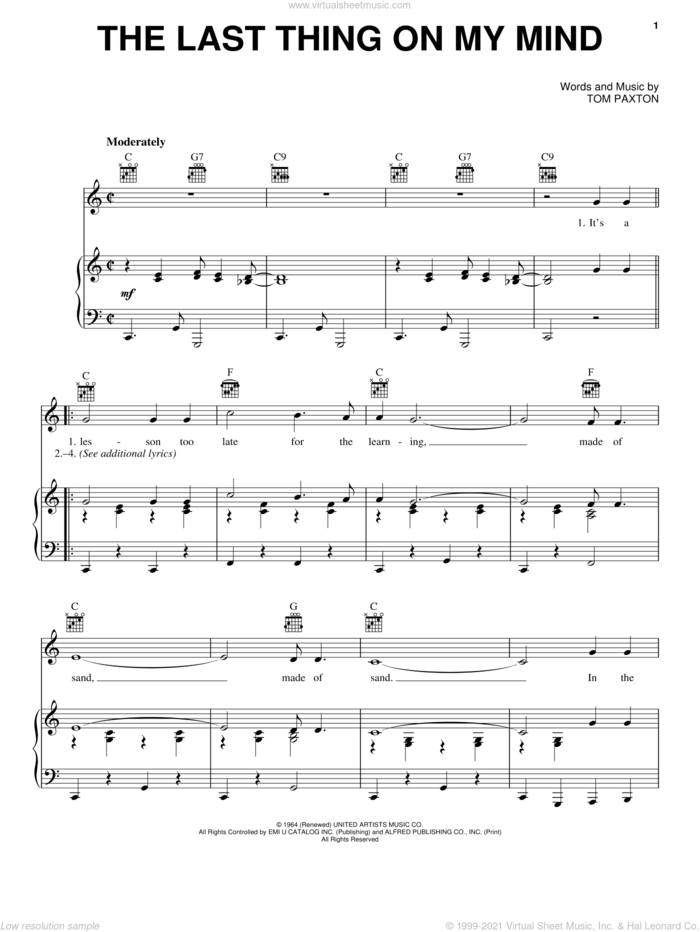 The Last Thing On My Mind sheet music for voice, piano or guitar by Tom Paxton, intermediate skill level